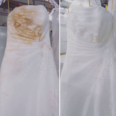 Stained wedding dress