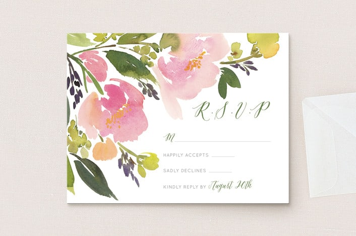 Watercolor Floral rsvp cards from minted