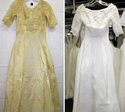 How to keep wedding dress from yellowing mini bridal for Restoring old wedding dresses