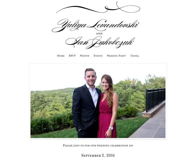 Yuliya Levandovski & Ian Jakobczuk Minted wedding website