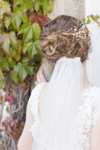 back of bride's hair with comb