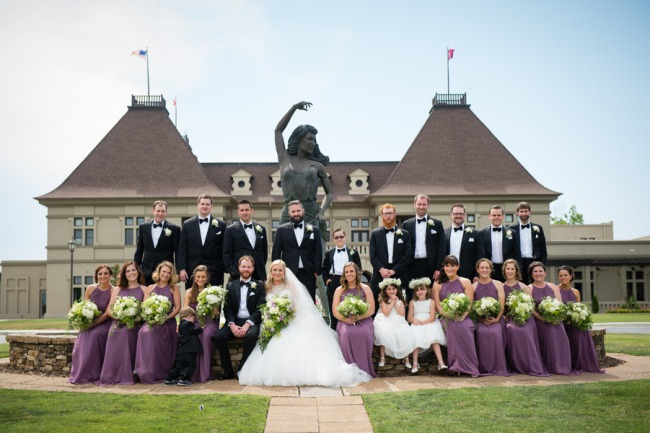 bridal party photo in front of Chateau Elan