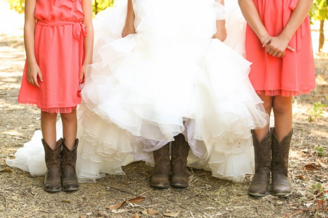 bride and kids in cowboy boots