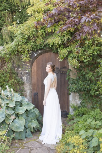bride in garden at St Andrew's hotel