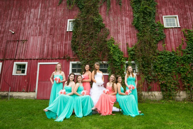 bridesmaids in teal dresses