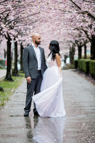 cherry blossom engagement shoot in Vancouver