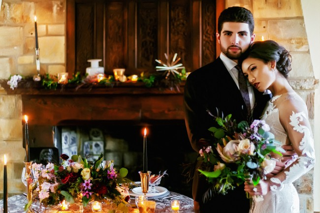 couple at Cloisters castle styled shoot