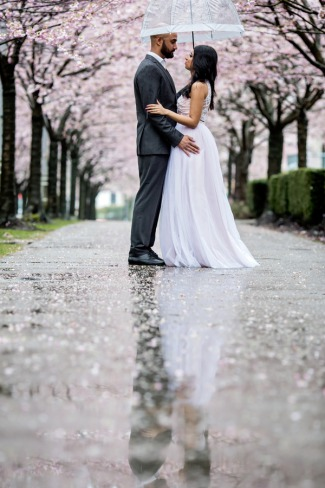 couple's reflection on rainy Vancouver sidewalk