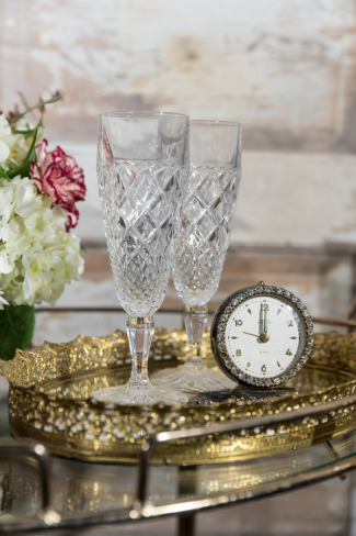 crystal glasses on serving tray