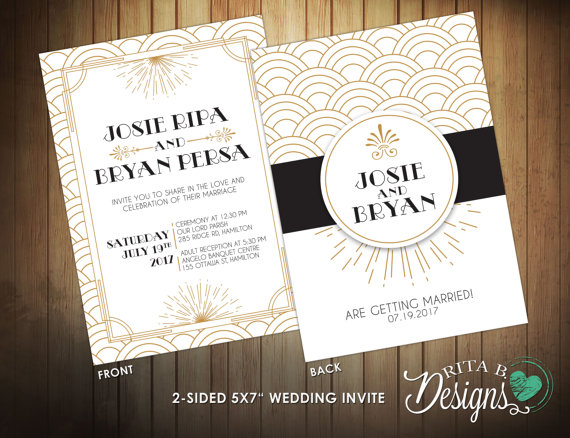 Top 5 Great Gatsby Wedding Invitations Refined Yet Raucous
