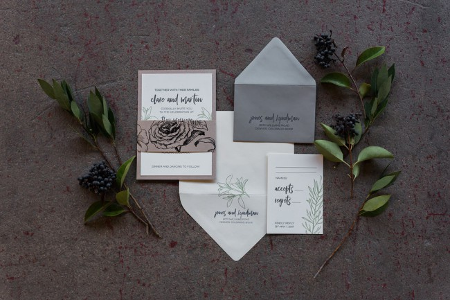 styled industrial greenery stationery