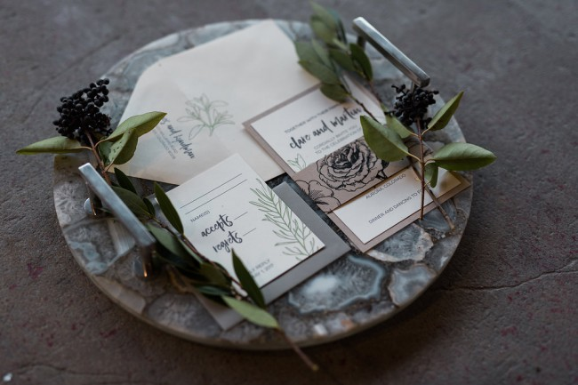 industrial greenery stationery suite
