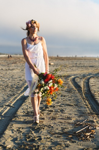 jilted styled bride on beach