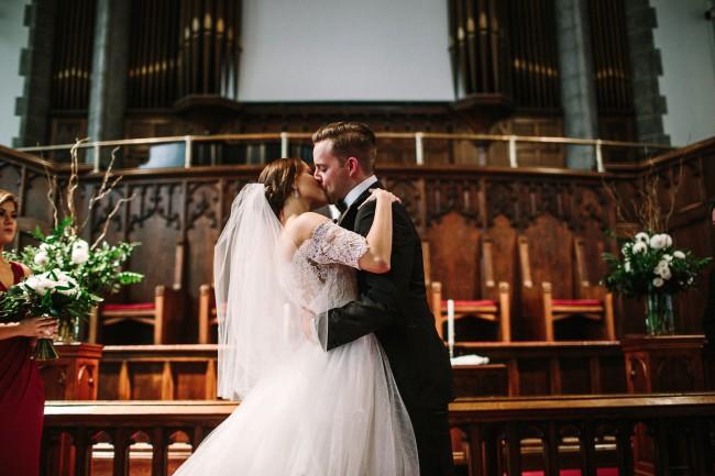kiss at church ceremony