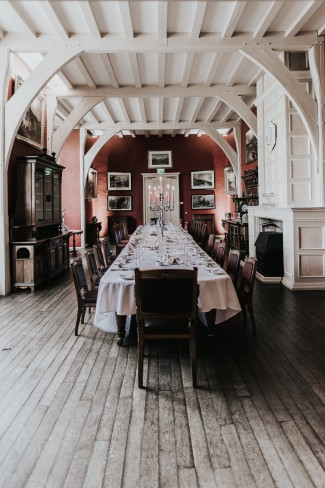 long table at belle isle castle reception