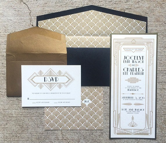 luxury art deco invite set