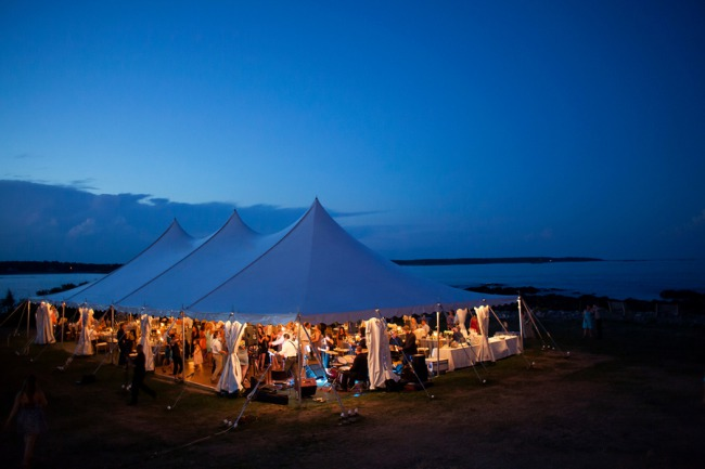 marquee tent at dusk