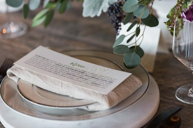 menu card on plates and napkin