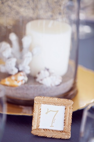 mini gold frame table number