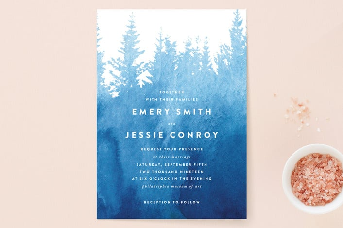 misty forest wedding invitations from minted