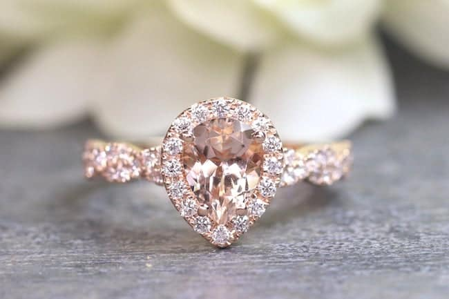 morganite diamond engagement ring feature