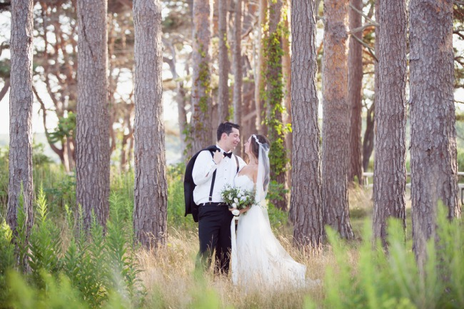 newlyweds in New Hampshire woods