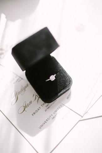 open black box with diamond ring