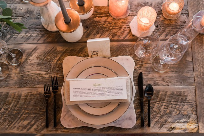 overhead of menu and plates