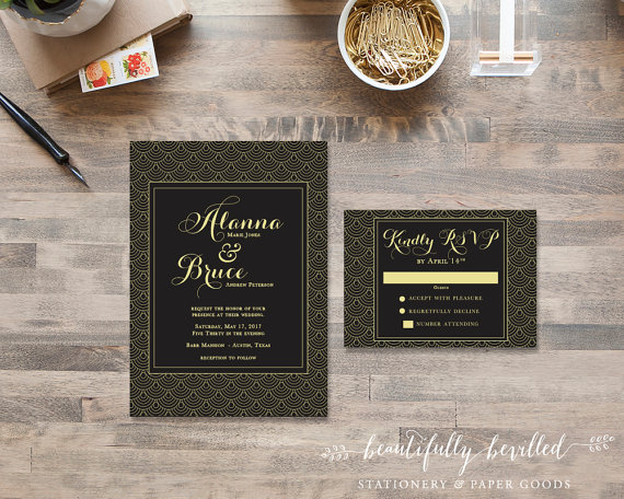 scalloped gatsby invite design - Great Gatsby Wedding Invitations