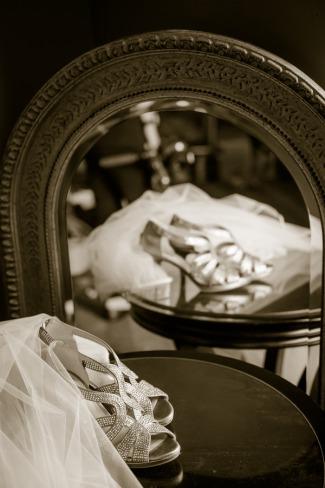silver strap bridal heels