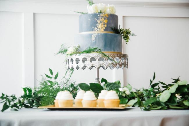 slate blue cake on silver platter