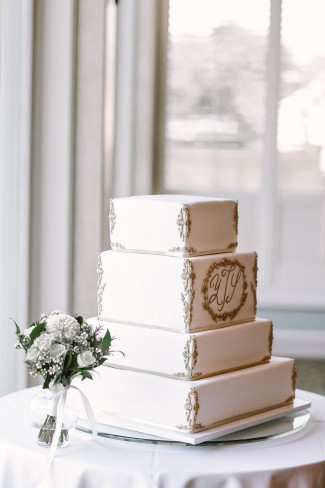 square white wedding cake