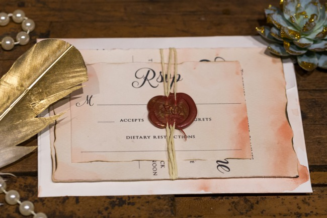 stationery suite with twine and wax seal