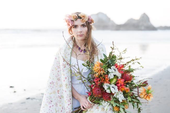 styled boho bride at dusk with blanket