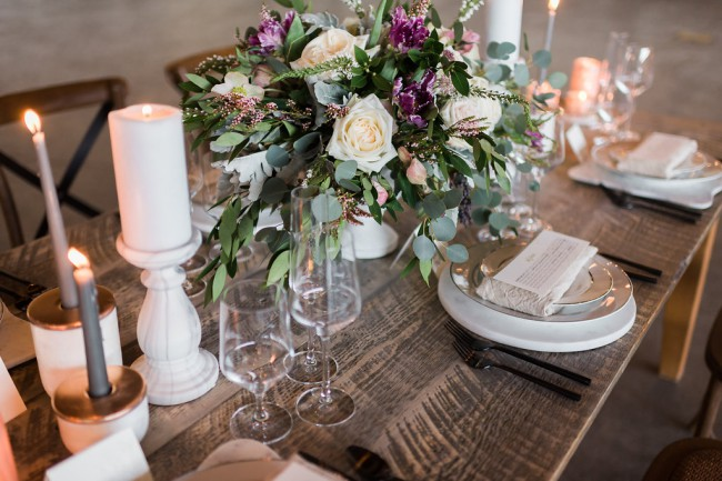 styled industrial greenery table