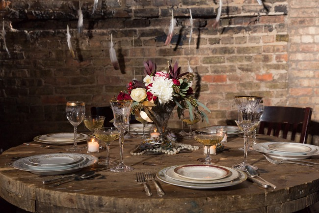 tablescape against brick wall