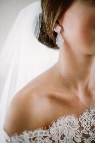 view of bride's earrings