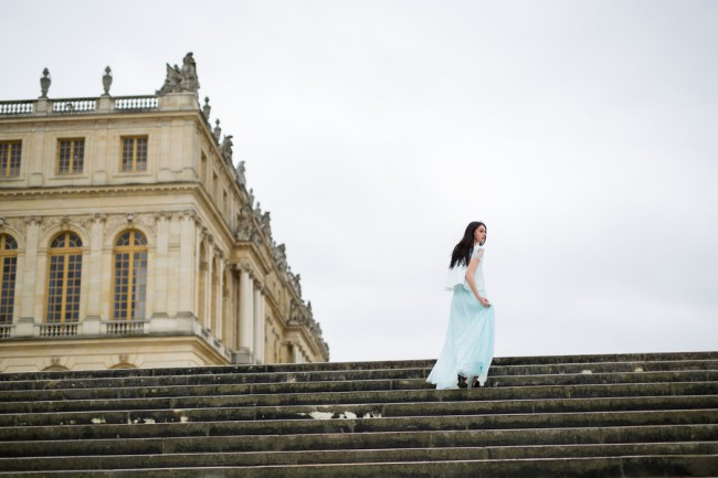walking up Versailles steps
