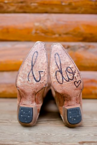 I DO written on bottome of cowboy boot