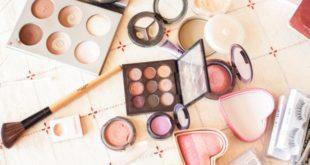 assortment of makeup supplies