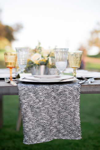 black and white chevron tablecloth setting