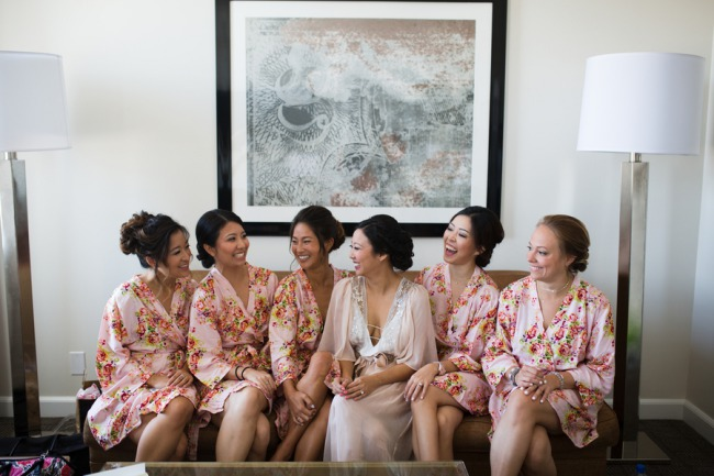 bridesmaids in flutter robes