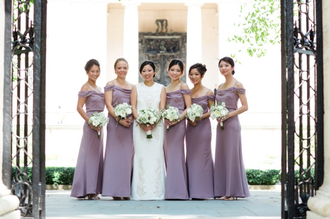bridesmaids in lilac dresses