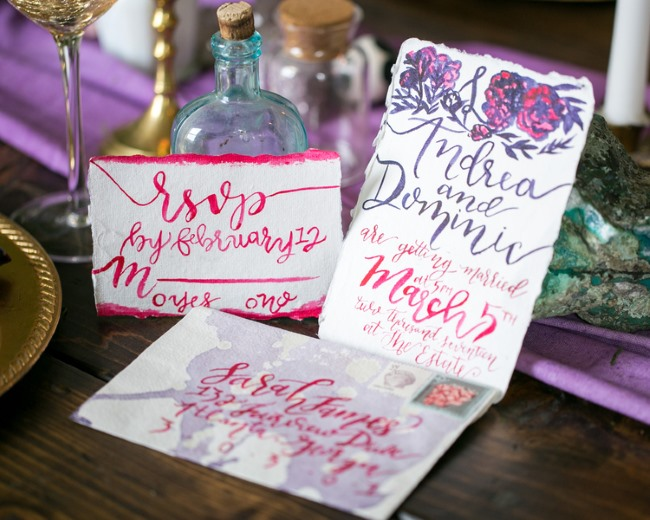 bright pink and purple stationery