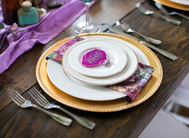 bright puple rock place setting on plates