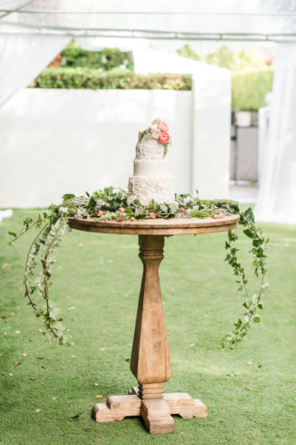 cake on round wood table