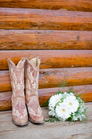 cowgirl boots and bouquet