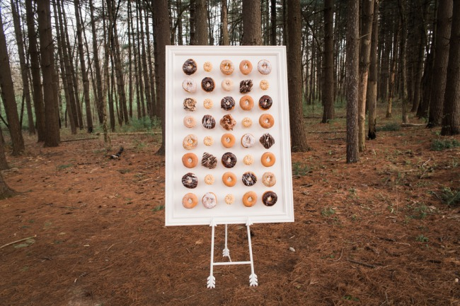 donut wall on easel in woodsd