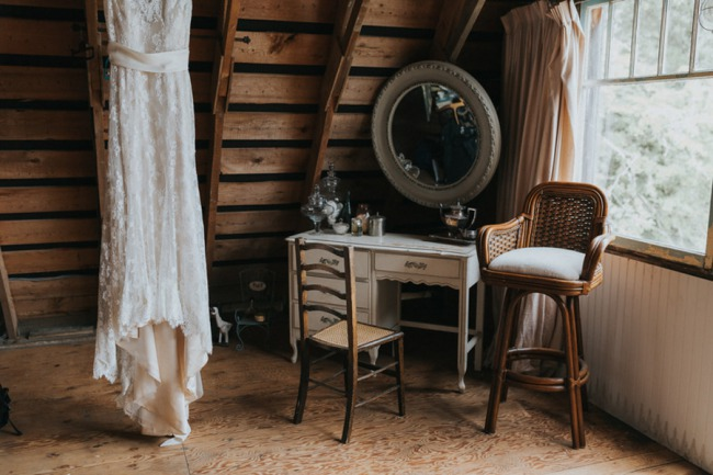 dress and vintage furniture in upstairs barn