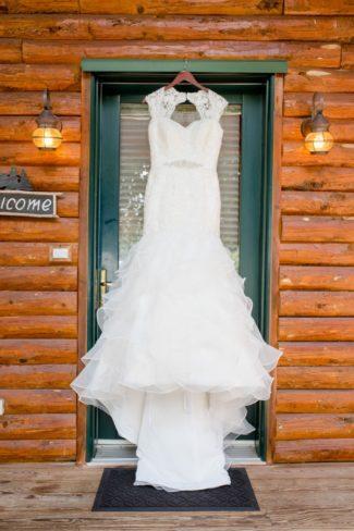 dress hanging in doorway